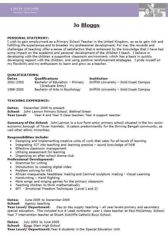 Teacher CV example