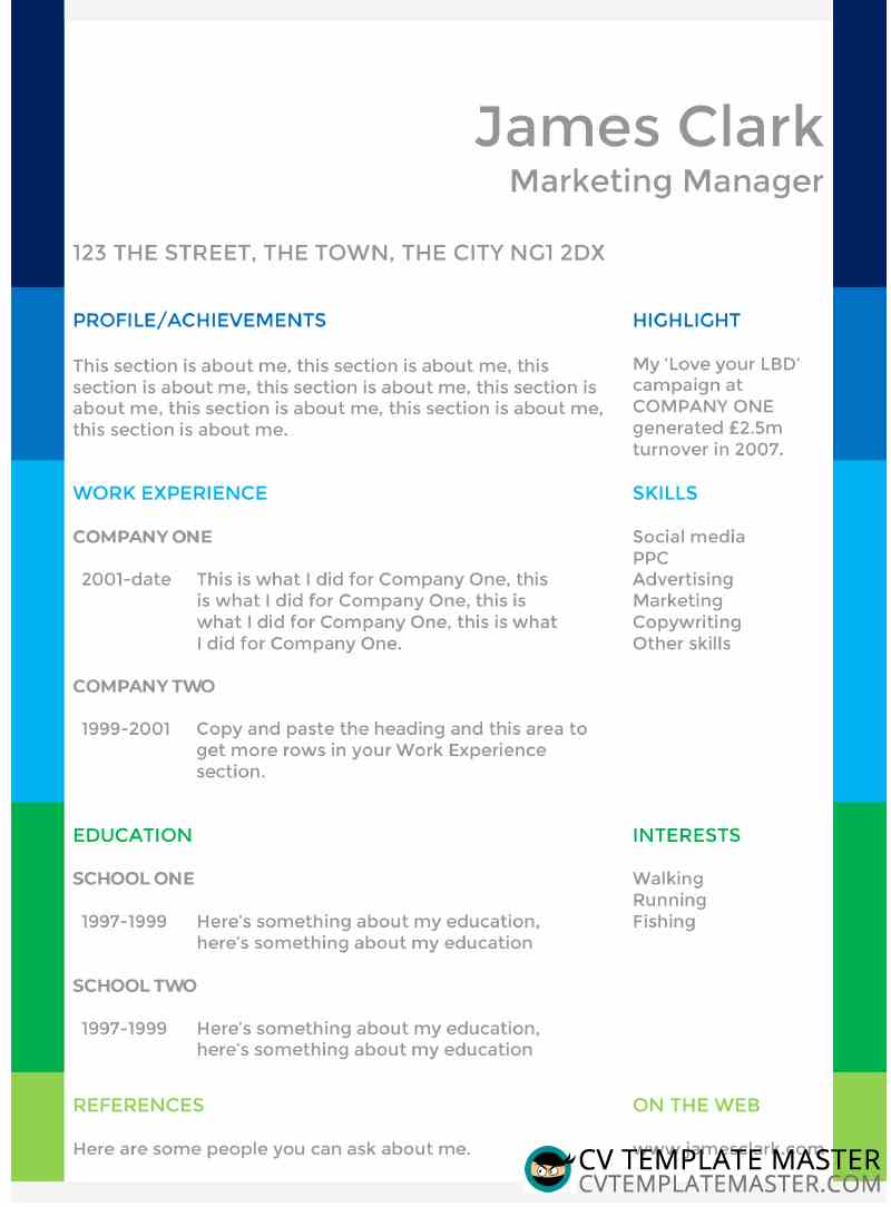 colour blocks creative cv template  free to download