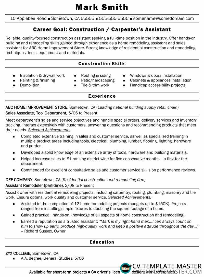free construction assistant cv  r u00e9sum u00e9 example  ms word