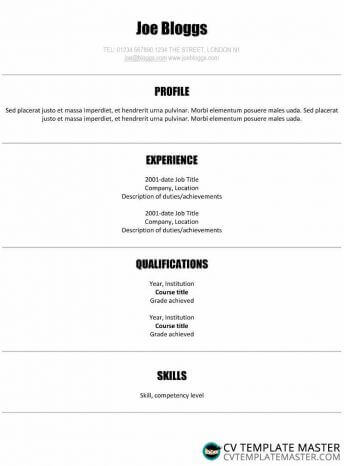 Simple ATS-friendly centred CV template with a crisp font