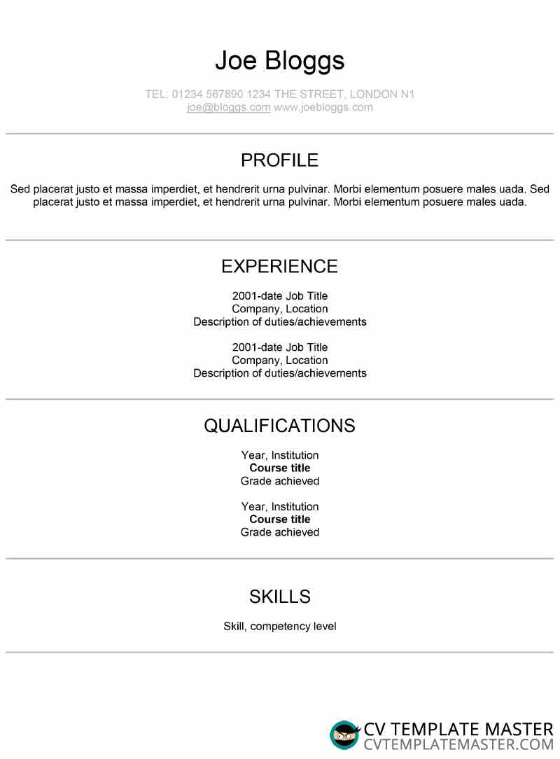 Centred Modern Arial Template CV