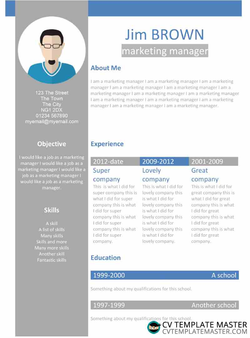 Free Creative Profile Word CV Template