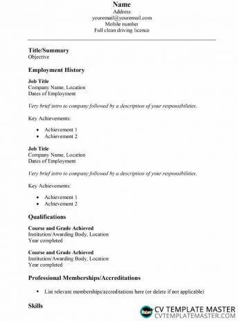 Simple CV template in Word