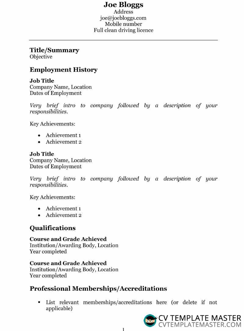 Simple Georgia CV template