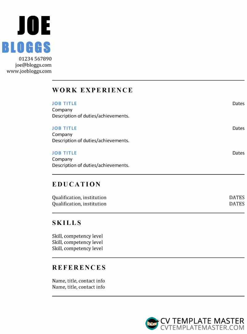 two column blue accent cv template