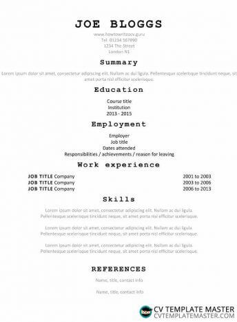Typewriter CV template