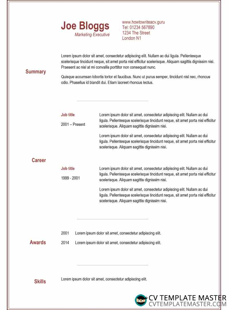 two column narrow burgundy cv template cv template master