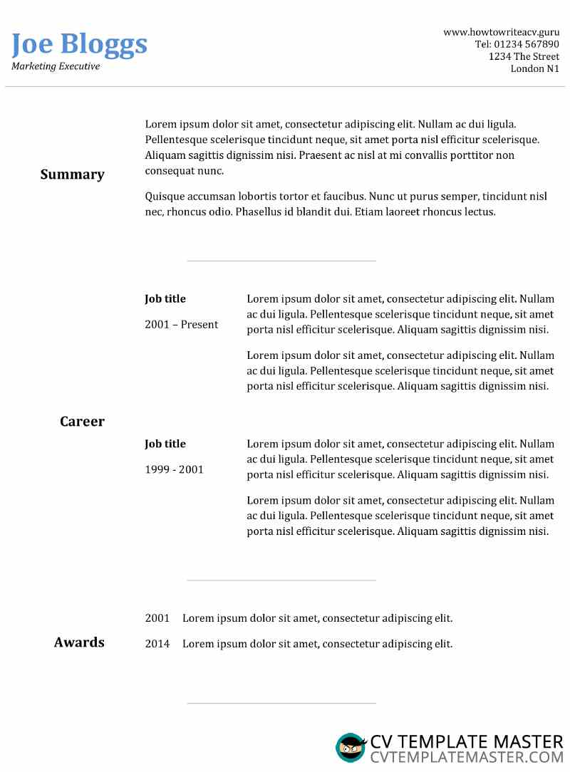 Basic Cv Template With A Neat Two Column Layout Cv Template Master