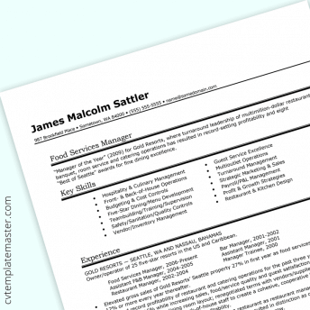 Food and beverage manager CV (free to download)
