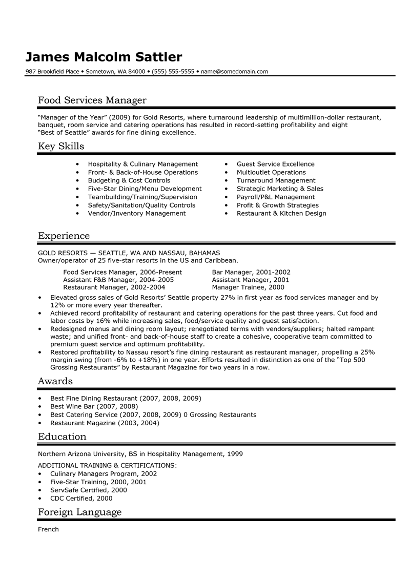 Food and beverage manager CV