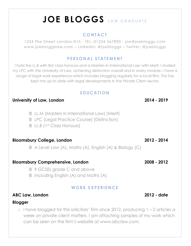 Graduate CV example - page one