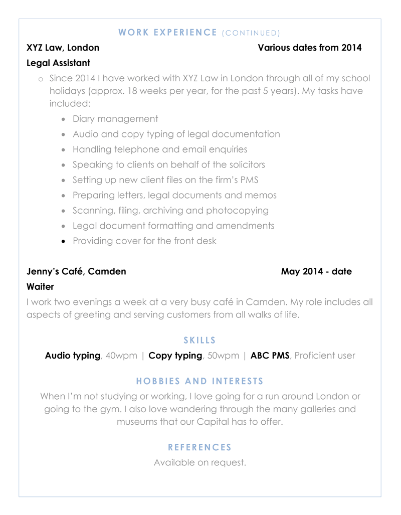 Graduate CV template - page two