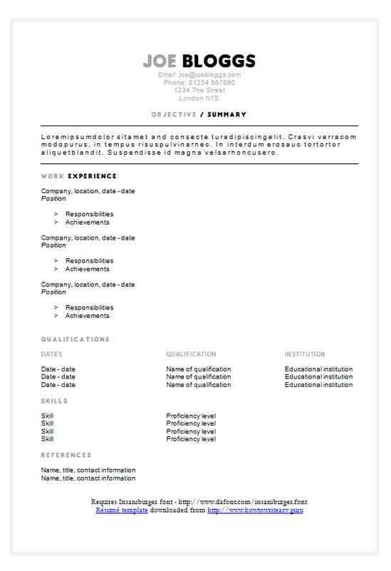 Grey black split CV/résumé template