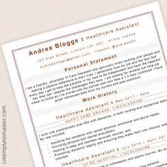 Health care assistant CV : ATS-friendly Microsoft Word template