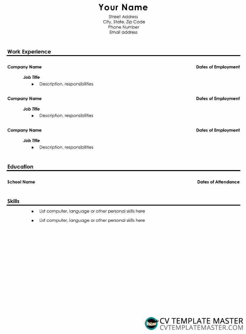 Free school leavers cv template