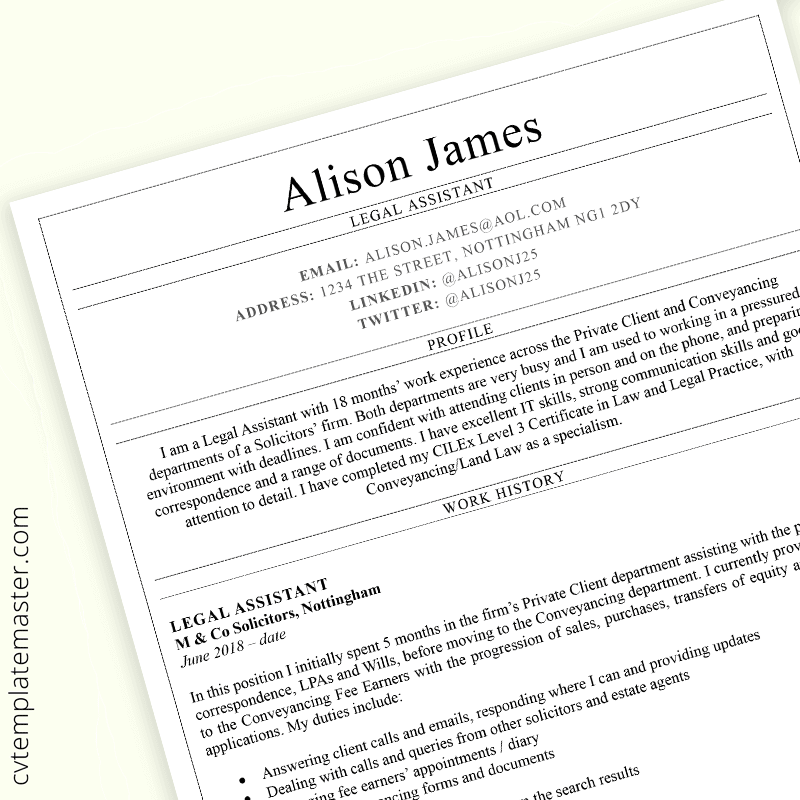 Legal Assistant CV template - preview