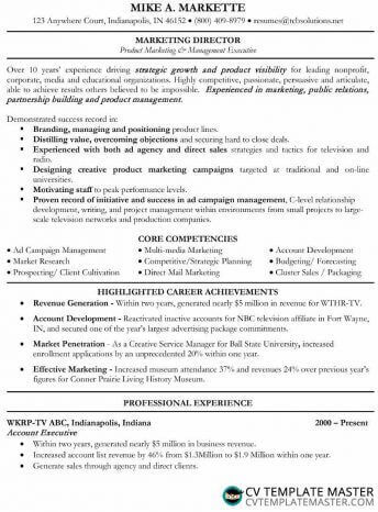 Free MS Word marketing CV/résumé example