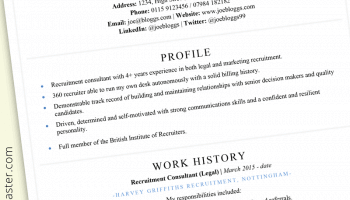 Recruitment consultant CV example: ATS-friendly template