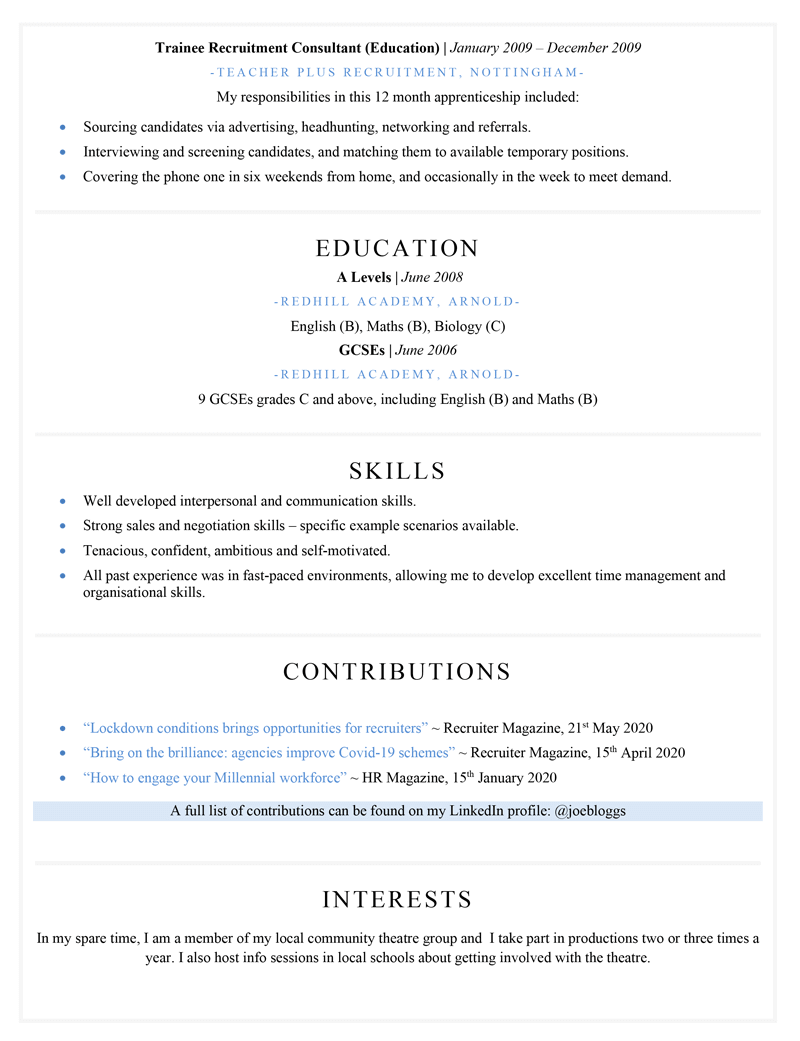Recruitment consultant CV - page two