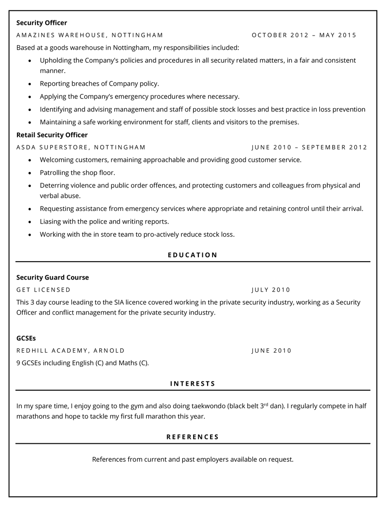 Security CV - page two