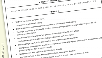Security guard CV template (with example information)