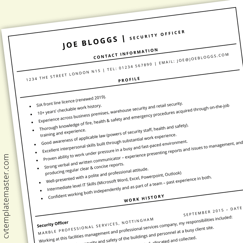 Free Ats Friendly Resume And Cv Templates Cv Template Master