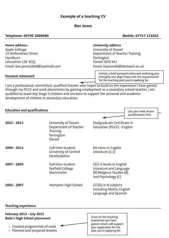 teacher cv examples templates and guidance cv template master