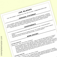 Teaching assistant CV : bold CV template (updated 2020)