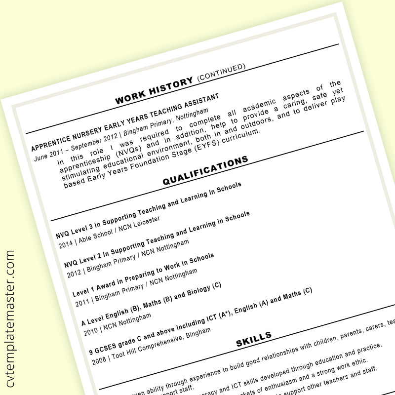 Teaching assistant CV - page 2