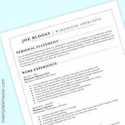 Warehouse Operative CV template with grey headers (free, MS Word)