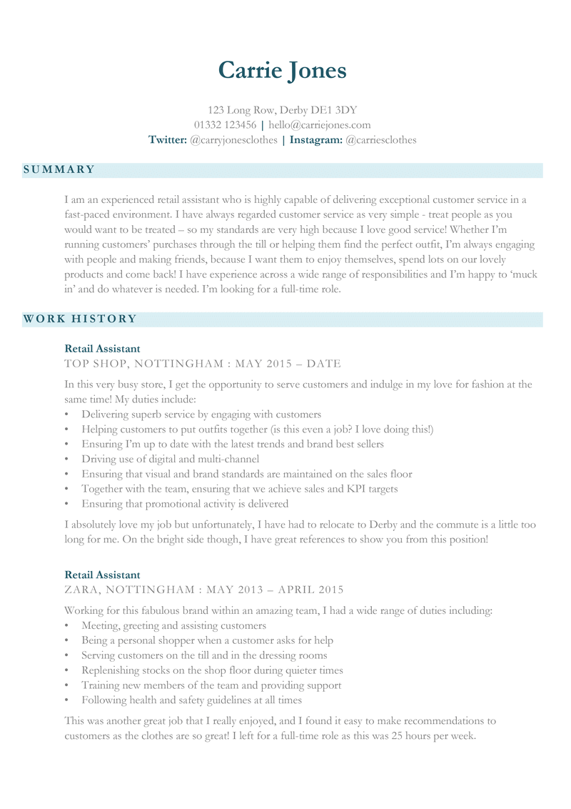 Retail assistant CV template in Word