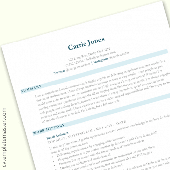 Retail assistant CV template in Word (free download)