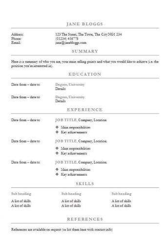 Free centred headings CV/Résumé template in Word