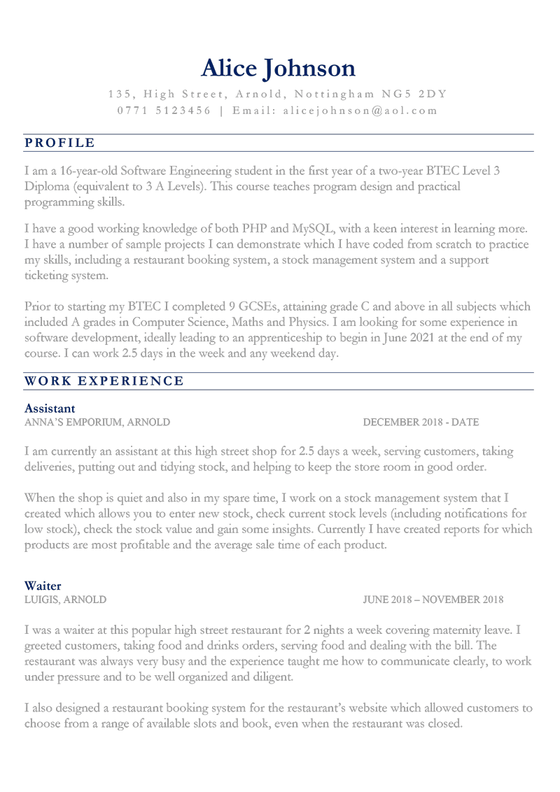 CV for 16 year old - page one preview