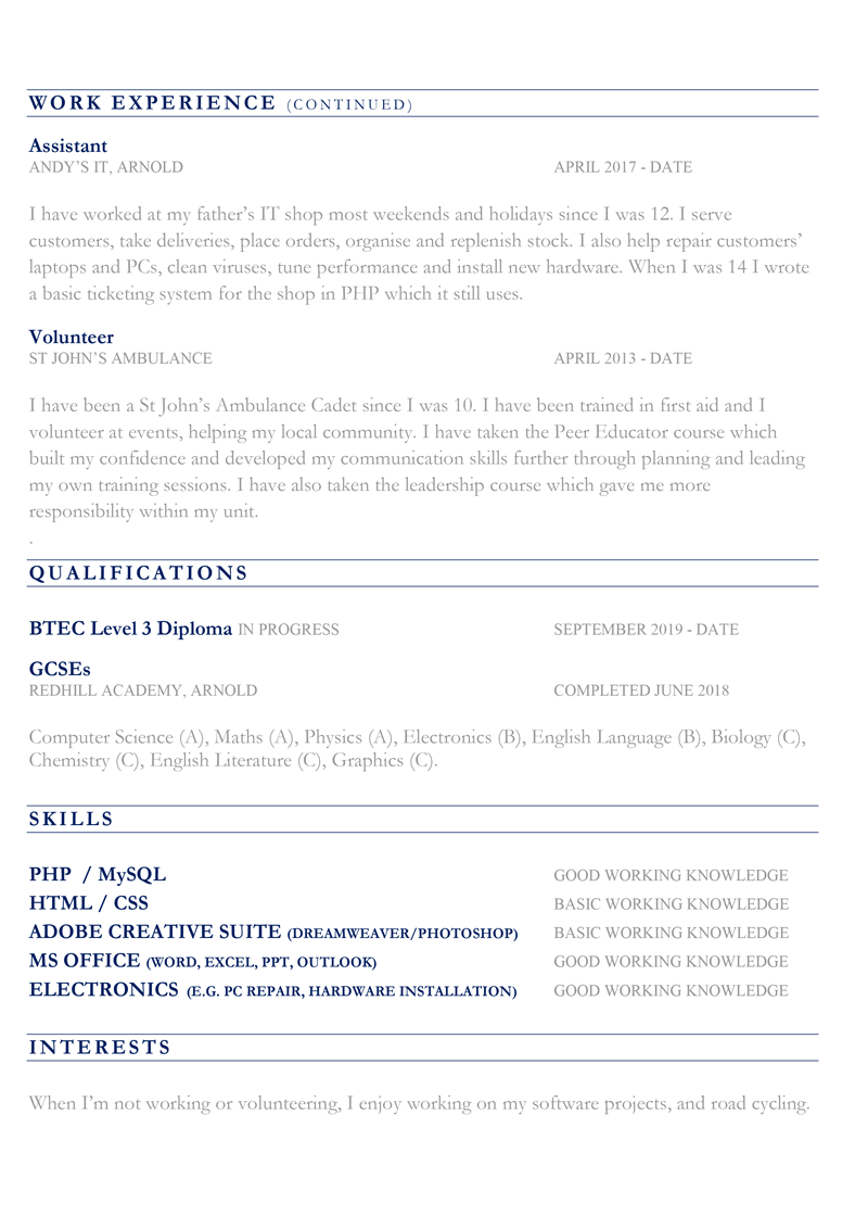 CV for 16 year old - page 2 preview