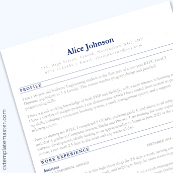 CV for 16 year old : free 'Sections' template (Microsoft Word format)