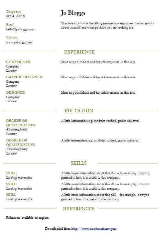 Smart green lines professional CV template