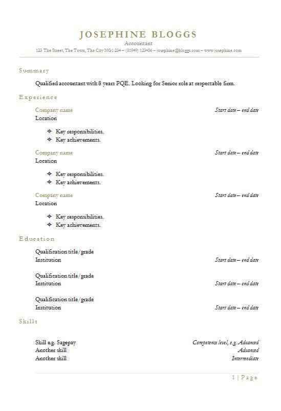 Header CV template