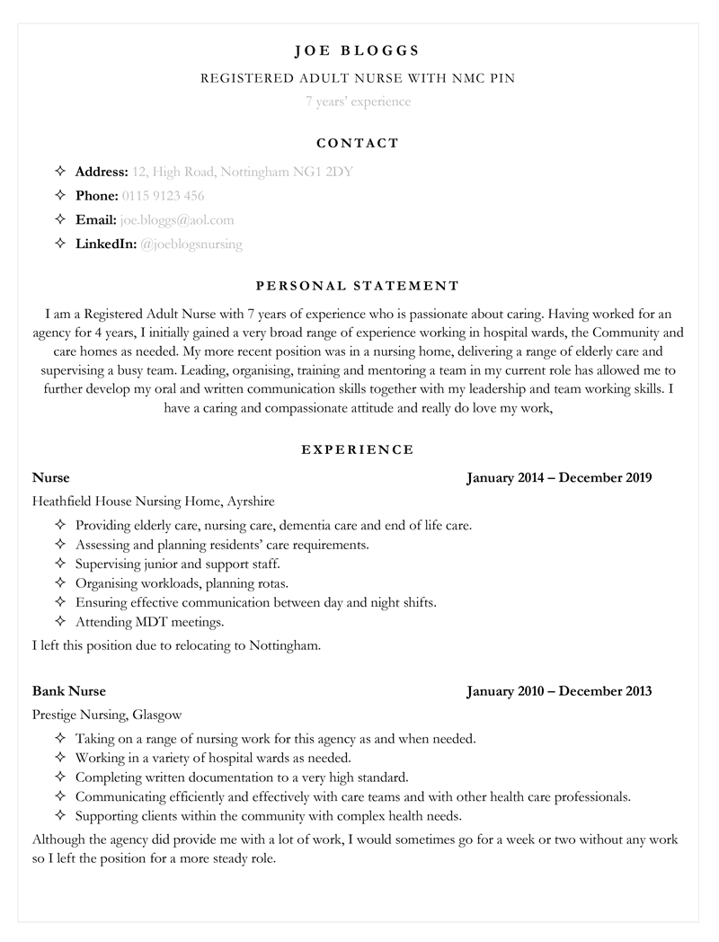 Nursing CV example - page one of template