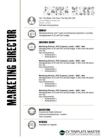 Free creative black and white CV template (MS Word)