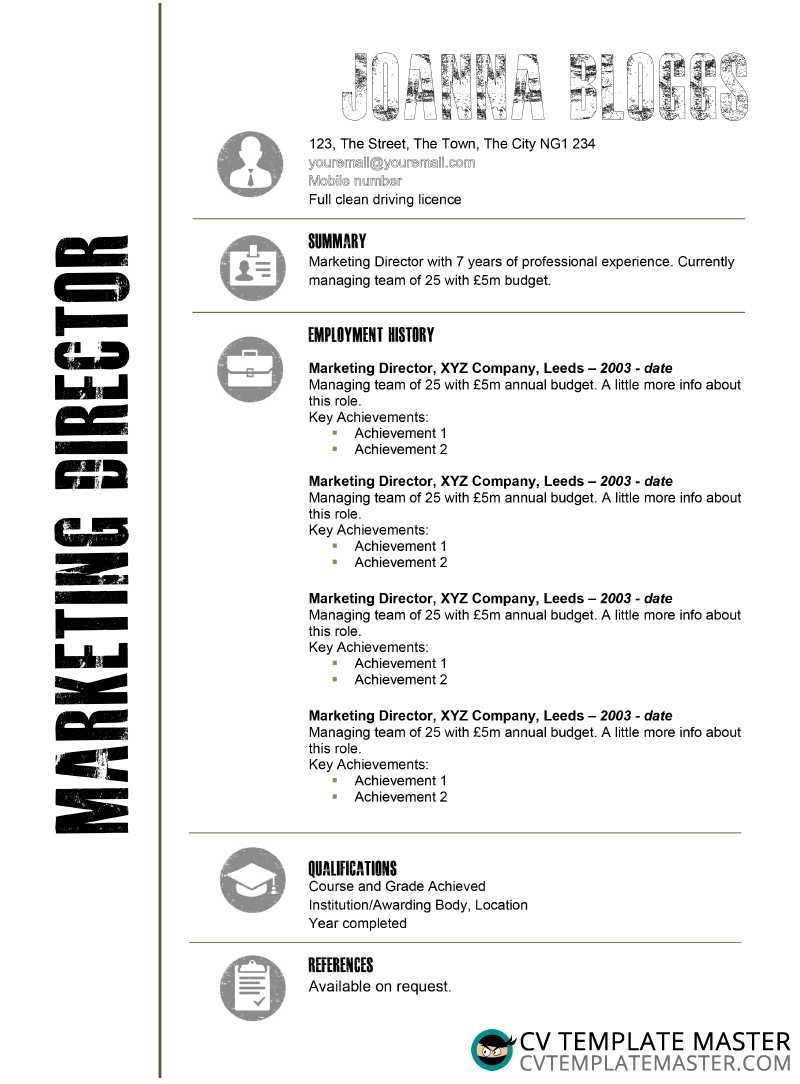 Creative black and white free CV template