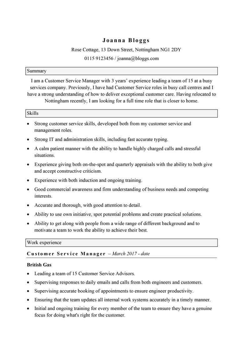 Functional CV - page 1
