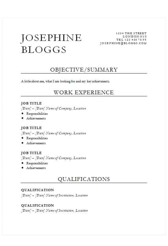 Statement piece CV template