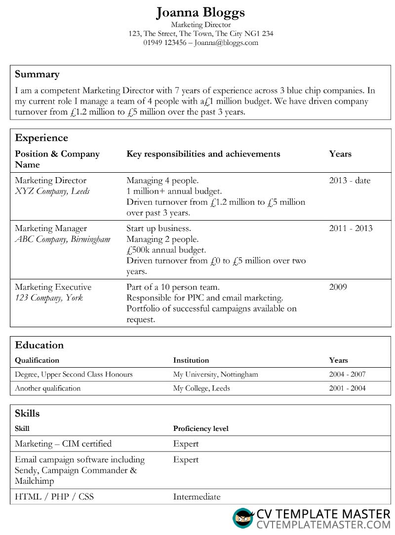 Professional CV template in MS Word format using tables