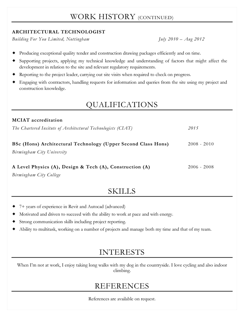 Architecture CV example - page 2