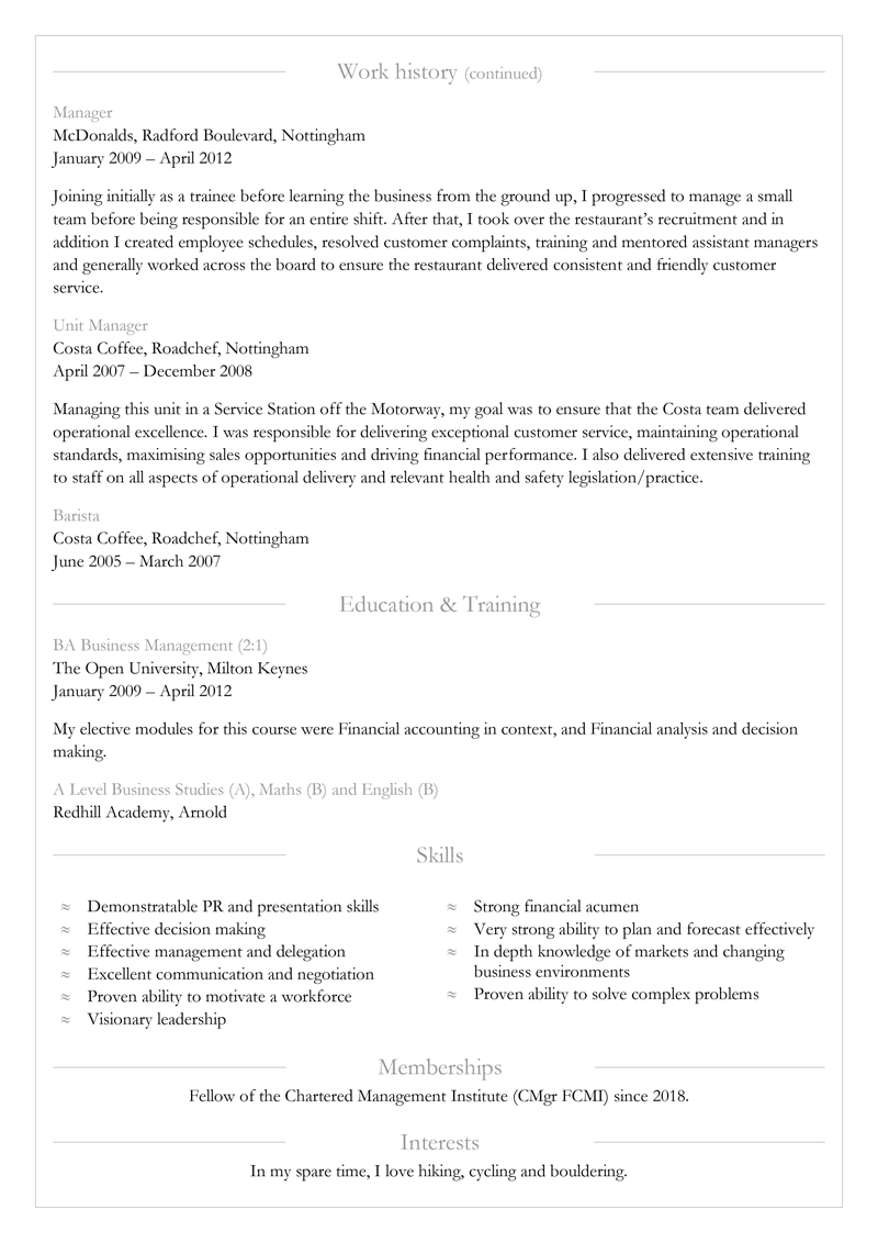 Director CV template - page 2