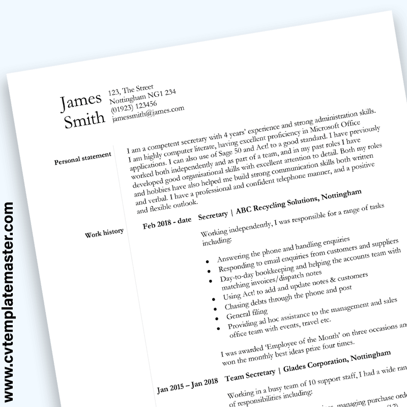 Secretary CV Sample : Word CV Template (free Download