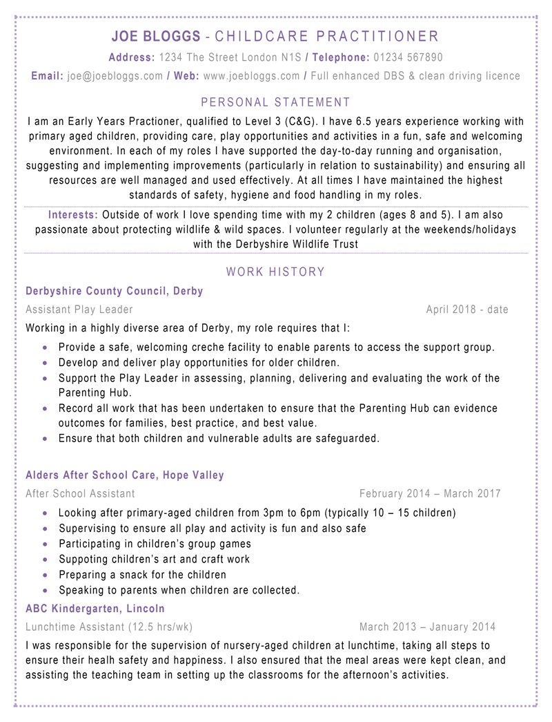 Example of a good CV - page 1