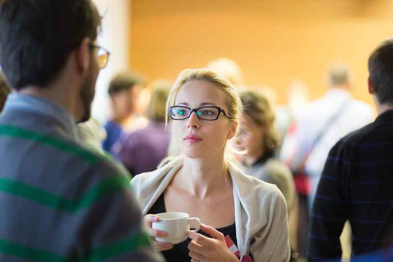 Networking at a careers event