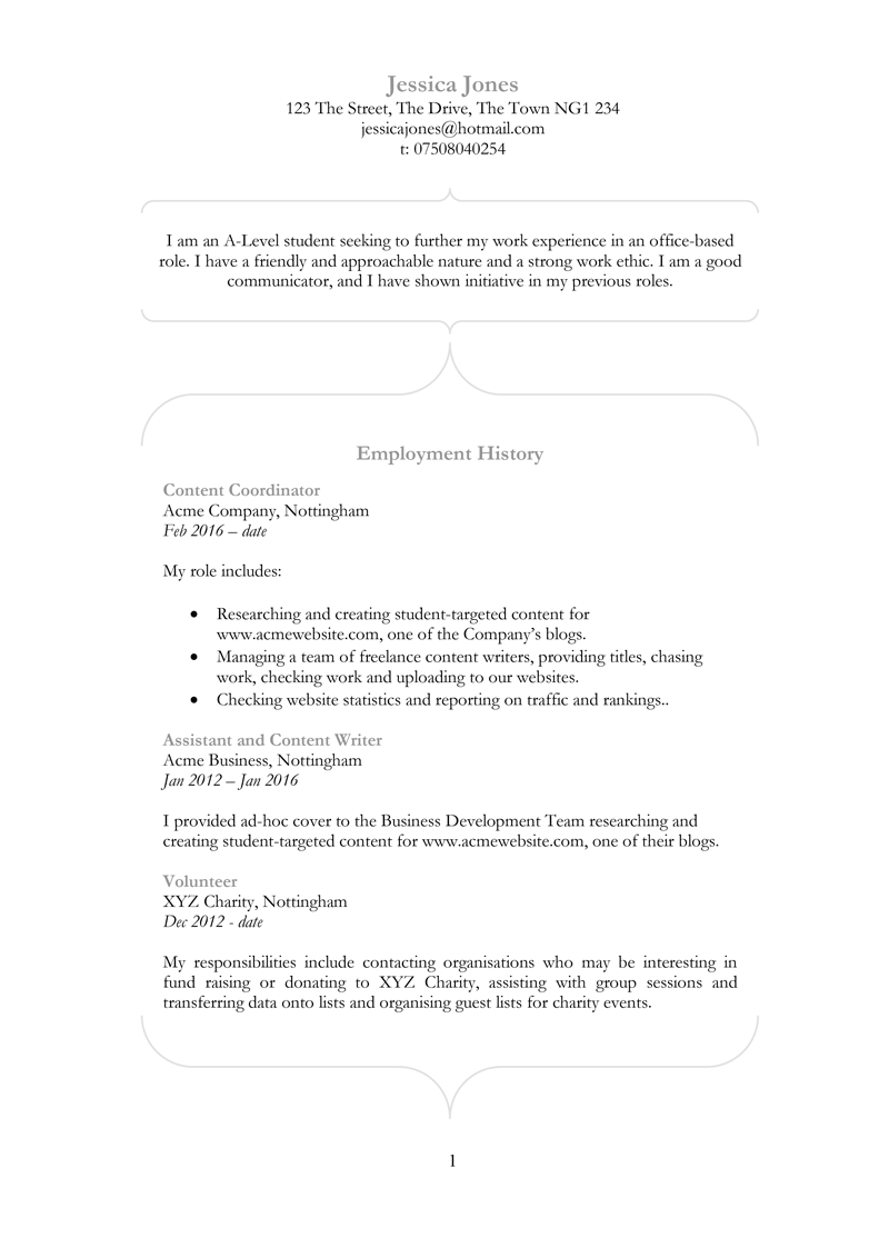 Entry level CV template - page one